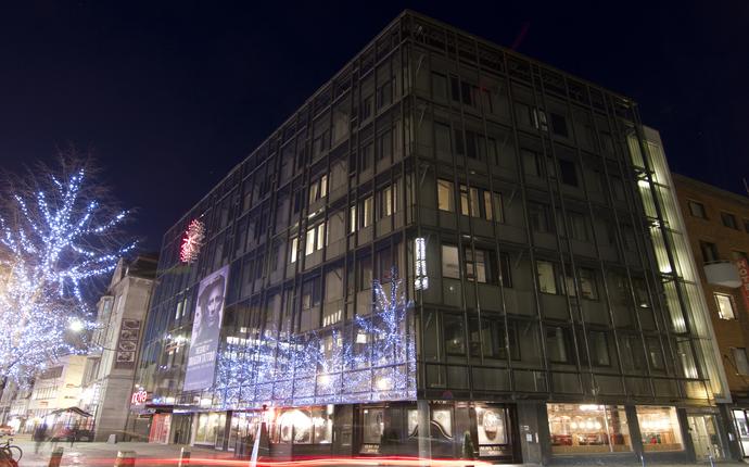 Hotellets fasade, vinter