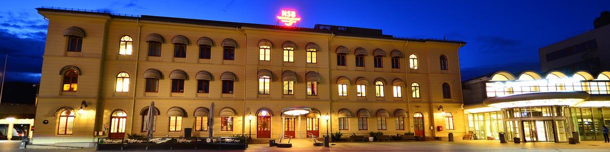 Strømsø torg med togstasjonen