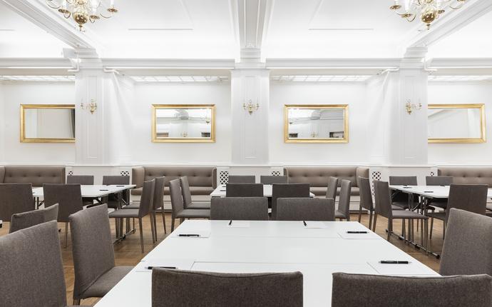 Grand Hotel Terminus - Lyst lokalet som er innredet i stilen til den lette, elegante Bergensklasismen.